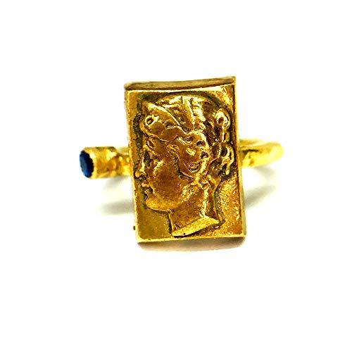 izmirjewelry Handmade Bronze Roman Intaglio Ring with Sapphire 24K Gold Over 925K Sterling Silver