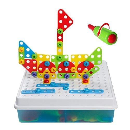 TONZE Jeu De Construction Puzzle 3D Enfant Jouet Construction Motricité Fine Jeu Educatif Loisirs Créatifs Fille Garcon 3 Ans 4 Ans 5 Ans