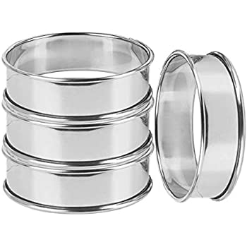 Uncle Jack double rolled tart rings, English Muffin Rings Professional Crumpet Rings set of 4