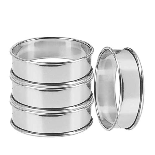 """Uncle Jack double rolled tart rings, English Muffin Rings Professional Crumpet Rings 3-1/8"""" set of 4"""