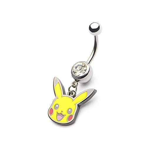 Pokemon Pikachu Head Stainless Steel Dangle Belly Ring