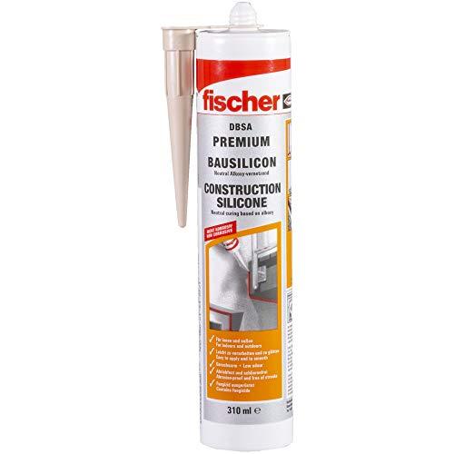 fischer DBSA BG - Silicona de construcción premium para uso en juntas de conexión y expansión en interiores y exteriores, sellador antiolor, beige, 310 ml, 1 unidad, número de referencia 53095