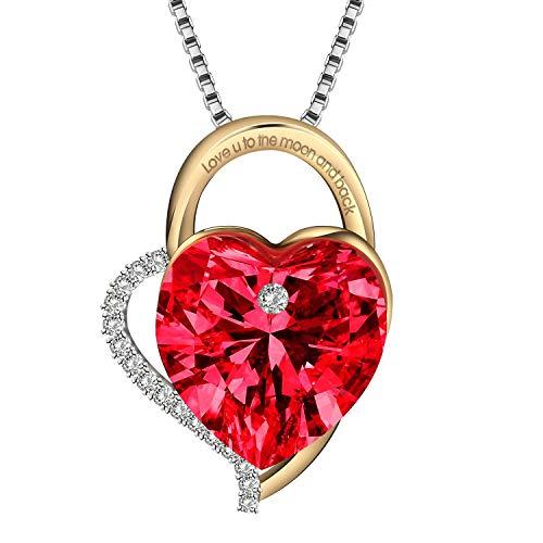 Lekani Regalos para San Valentin, Collares Mujer Plata Colgante Amor por Siempre Cristal de Swarovski Joyas Regalos Originales para Mujer Madre Mamá Abuela (Red)