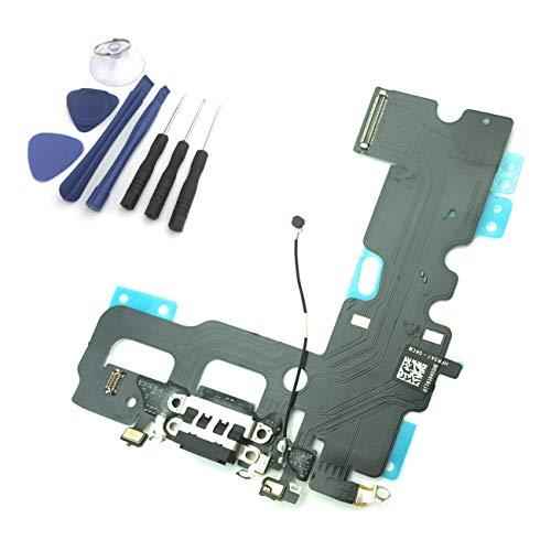 enoaFIX Dock Connector kompatibel mit iPhone 7 Ladebuchse Lightning Anschluss inkl. Mikrofon und Antenne in schwarz + Werkzeug Set