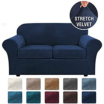 H.VERSAILTEX Real Velvet Plush 3 Piece Stretch Sofa Cover Velvet-Sofa Slipcover Loveseat Cover Furniture Protector Couch Soft Loveseat Slipcover for 2 Cushion Couch with Elastic Bottom(Loveseat,Navy)