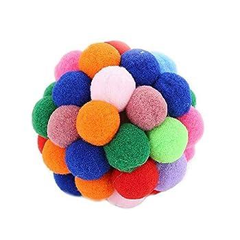 YETE Balles rebondissantes Faites à la Main en Laine colorée avec Herbe à Chat Taille 5/6/7 cm