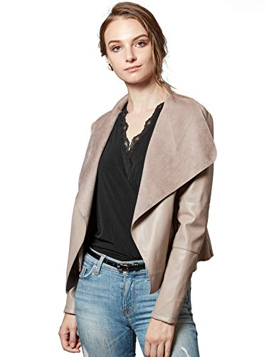 Escalier Women's Faux Leather Jackets Slim Open Front Lapel Blazer Jackets Khaki Large