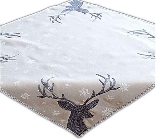 """Tischdecke 85 x 85 cm hellgrau weiß eisblau Stickerei """"Hirsch"""" Weihnachten Weihnachtsdeko Weihnachtstischdecke Mitteldecke Tischdeko"""