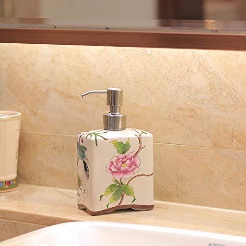 Tangrong Vloeibare zeep Container, Oriental 100% hand schilderen De roze Bloem van de Pioen Plein Shampoo Hand Sanitizer fles, Original Design Refillable Eco Resin keramische zeepdispenser, 500ml