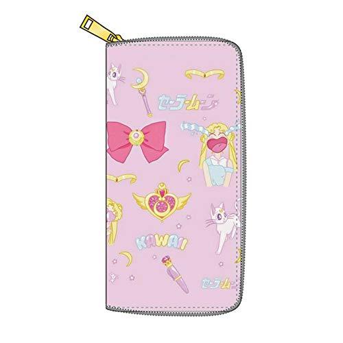 LKKOY Sailor Moon, Mode Frauen Cartoon Brieftaschen Schöne Münztasche Damen Long Card Holder Wallet 19CMX10CM