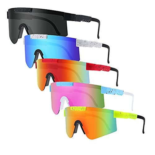 Tmpty Paquete de 5 gafas de sol para mujeres y hombres, anti-UV polarizadas gafas de sol, pesca, esquí, correr, golf