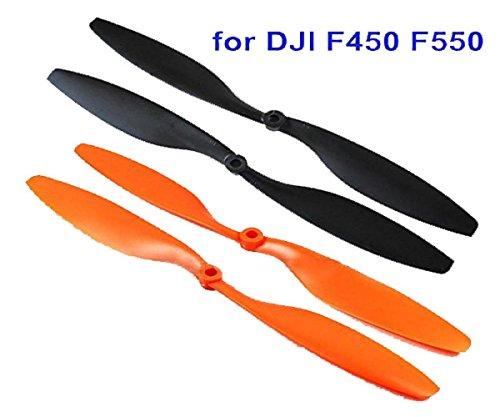powerday 2 paia 4 pz 1045 CW CCW elica 10' puntelli per DJI Flamewheel F450 F550 Multirotor (Nero & Arancione)