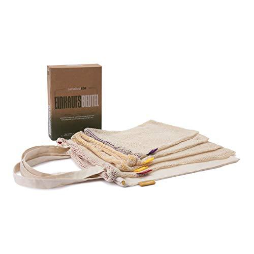 Lumaland 5er Set Einkaufsbeutel in 3 Größen - wiederverwendbar, aus 100% Baumwolle, umweltfreundlich - nachhaltige Geschenkverpackung - Einkaufsnetz, Einkaufstasche, Obstbeutel, Gemüsebeutel