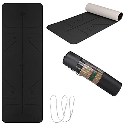 Yogamatte TPE, 183x66x0.6cm Yoga Mat mit Tragegurt&Tasche, Fitnessmatte rutschfest, Trainingsmatte mit Positionslinie für Workout, Schwarz&Grau