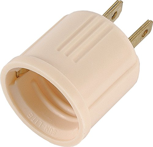 GE, Converts Lamp, Perfect for Workshop, Garage or Utility Room, Polarized Plug, UL Listed, Light Almond, 54173, Outlet to Socket Adapter