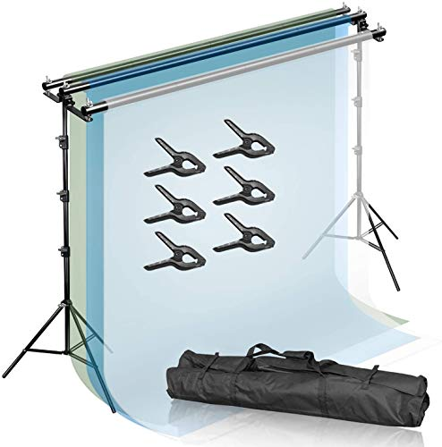 JS JULIUS STUDIO Triple Crossbar 10.3 ft Wide 9.4 ft Tall Adjustable Background Backdrop Support Stands, with Mounting Hardware and 6 Pack Spring Clamp, Carry Bag, JSAG596