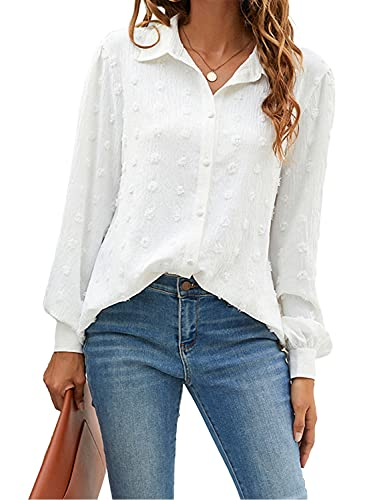 Blooming Jelly Womens Button Down Shirts White Long Sleeve Collared Business Casual Tops Work Blouses(Large,White)