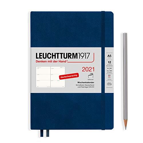 LEUCHTTURM1917 362024 Marine, Wochenkalender, Softcover, Medium (A5) 2021, Deutsch