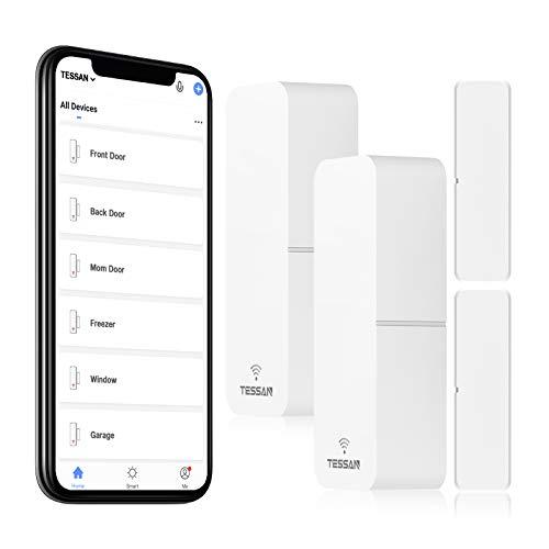 Smart Door Sensor 2 Pack, TESSAN WiFi Window Contact Sensor Work with Amazon Alexa, Google Assistant, No Hub Required, Trigger Phone Notification, Phone Alarm, Programmable with Smart Life Devices