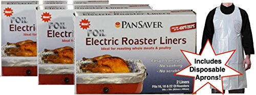 Pansaver Foil Electric Roaster Oven Liners, 3 Box Bundle (6 Liners). Fits 16,18, 22 Quart Roasters. Includes 3 FREE Superior Individually Wrapped Aprons. Ideal for roasting meats, poultry, turkey.