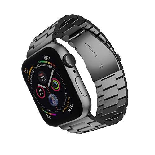 Correa de reloj de 42 mm de 42 mm para el reloj de Apple, compatible con IWATCH STRUT Series 6 / SE / 5/4 / 3/2/1, banda deportiva de reemplazo de acero inoxidable Cinturón de pulsera ajustable, negro