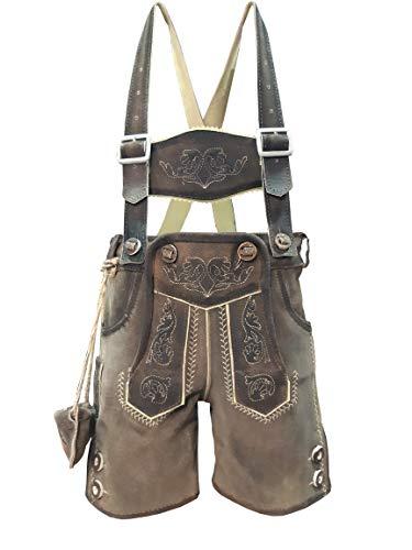 Kinder Trachten Lederhose, kurz mit Träger, Echtes Leder, Weiches Veloursleder, Braun, Sandro (Dunkelbraun, 146)