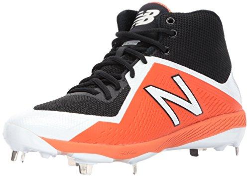 New Balance Men's M4040v4 Metal Baseball Shoe, Black/Orange, 16 2E US