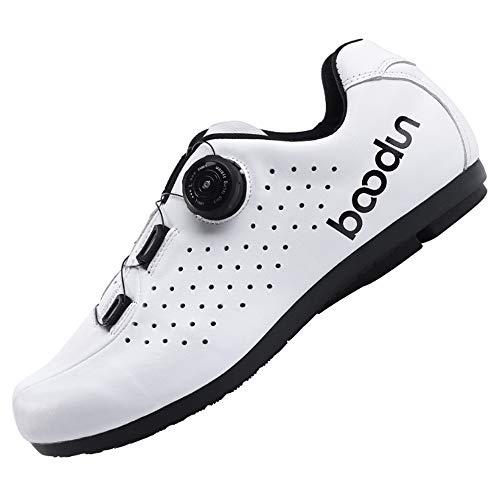 KUXUAN Zapatillas De Ciclismo para Hombre,Zapatillas De Bicicleta MTB Unisex Adultos Techne,Suela - Caucho,White-37EU