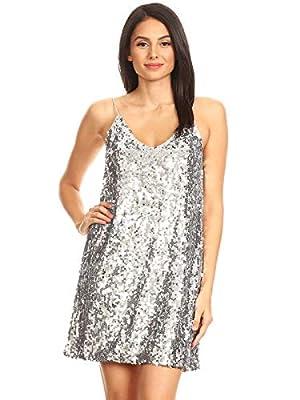 Anna-Kaci Women's V Neck Sleeveless Gradient Sequin Stretchy Mini Party Clubwear Dress, Silver, Small