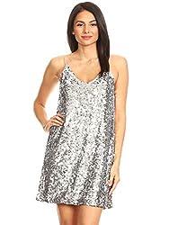 Silver V-Neck Sleeveless Sequin Bodycon Mini Dress