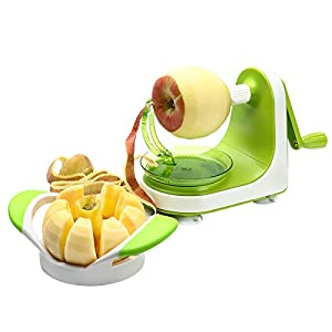 THOUGHTFUL DESIGN: When crank the handle, the spring loaded arm will automatically adjust the shape of the apple. Ultra sharp stainless steel blades peeling the apple skin smoothly and fast. Four suction-cups keep the apple peeler stable on clean and...