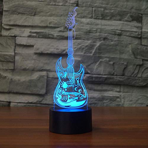 SFALHX Creative 3D Night Light Guitar Model LED 7 Color Changing Touch Sensor Desk Table Lamp For Children Best Gift Toy