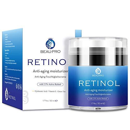 Crema Hidratante con Retinol para Día y Noche por- Crema Antiarrugas, retinol 2,5%, ácido hialurónico, vitamina E,Hidratante de Rostro y Crema Facial,Adecuado para hombres y mujeres,50ml