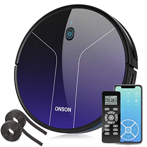 Robot Vacuum, GOOVI by ONSON 2100Pa Robotic Vacuum Cleaner with Mapping&Wi-Fi, 360° Smart Sensor Protection, Self-Charging with 2 Boundary Strips, for Pet Hairs, Hard Floors, Medium-Pile Carpets Dining Features Kitchen Robotic Vacuums