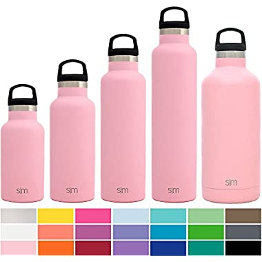 Simple Modern 32oz Ascent Water Bottle - Stainless Steel Hydro Swell Flask w/Handle Lid - Metal Double Wall Vacuum Insulated Pink Reusable Tumbler Aluminum 1 Liter Cold Leak Proof - Blush