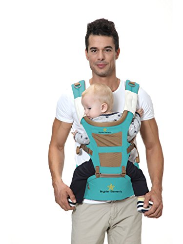 Brighter Elements Ergonomic Baby Carrier with Hip Seat – 5 Positions to Carry Your Newborn, Infant, or Toddler – Safe and Comfortable for Child and Moms, Dads – Great Baby Shower Gift