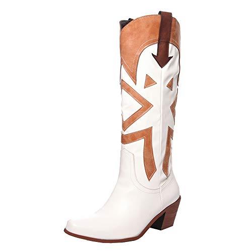 Slenderer Mujer Clasico Western Botines Tacon Ancho Ponerse Botas Altas Wide Calf Botas De Vaquero White Talla 39