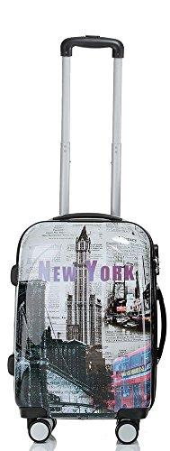 Valise avec coque rigide de voyage bagage trolley à 4 roulettes 360° policarbonate ABS léger et motif BB (M, New York)
