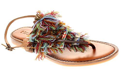 Inuovo 7331 - Damen Sandalette Pantolette Zehentrenner - Dark-Brown, Größe:36 EU