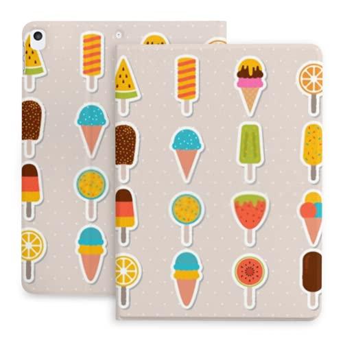Custodia per Ipad 10.2 Collezione di custodie Gustosi gelato adesivi cioccolato compatibile con iPad 8th Gen (2020)/7th Gen (2019) con portamatite, custodia protettiva per Ipad 2020 e 2019
