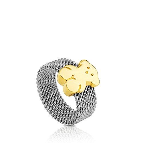 Anillo TOUS Mesh en acero inoxidable con oso en oro amarillo de 18kt, Ancho: 0,7 cm, Oso 1 cm, Talla 11,5 cm