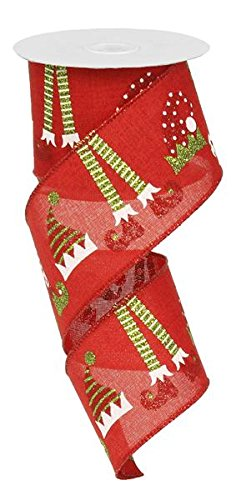 """Elf Hats & Legs Christmas Wired Edge Ribbon - 2.5"""" x 10 Yards (Red)"""