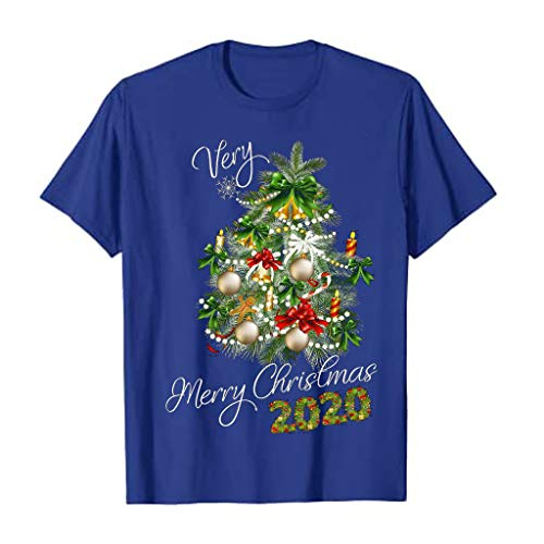 DEATU Womens Tops Christmas Tree Decorations Graphic Tees Shirts Cute Casual Short Sleeve Crewneck T-Shirts Tunic Blouse (Blue,3X-Large)