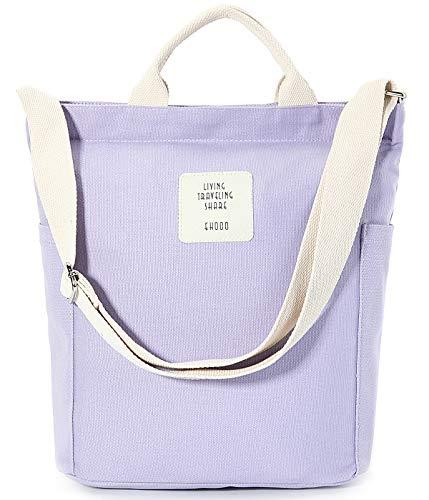 Worldlyda Women Canvas Tote Purse Handbags Crossbody Shoulder Bag Casual Work School Shopper Hobo Top Handle Handbag Lavender purple