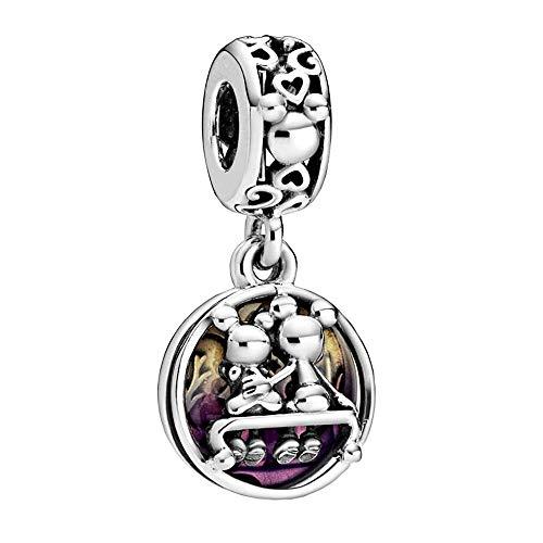 Annmors Charme Disney Mickey Mouse et Minnie Mouse heureusement jamais de Argent Sterling 925 Femmes Perles Charm avec Zircone Compatible pour Pandora&Européen Bracelets