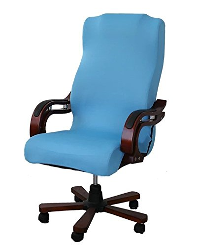 Deisy Dee Slipcovers Cloth Universal Computer Office Rotating Stretch Polyester Desk Chair Cover C064 (Sky Blue)