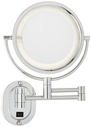 Jerdon HL65CD 8-Inch Lighted Direct Wire Wall Mount Makeup Mirror with 5x Magnification, Chrome Finish