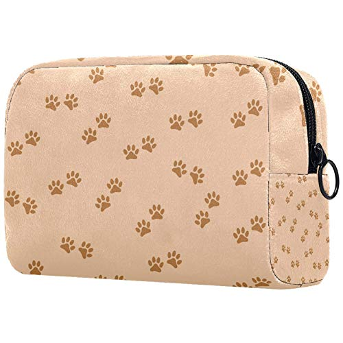 FURINKAZAN Light Brown Dog Cat Paw Print Travel Makeup Bag for Toiletries Bag Makeup Pouch Men & Women