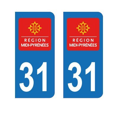Zone-Stickers 2 Autocollants Plaque Immatriculation 31 Midi-Pyrénées Haute-Garonne - Arrondis