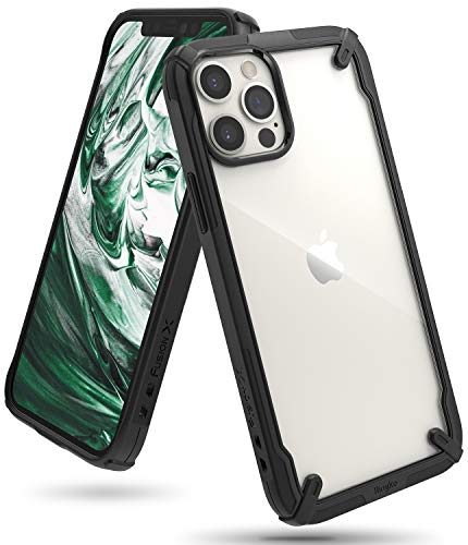 Ringke Fusion-X for iPhone 12 Pro Max Case Back Cover, [Military Drop Tested] Ergonomic Transparent PC Back TPU Bumper Impact Resistant Protection for iPhone 12 Pro Max Back Cover Case - Black